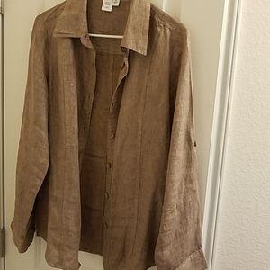 BOGO Coldwater Creek long sleeve linen blouse, M